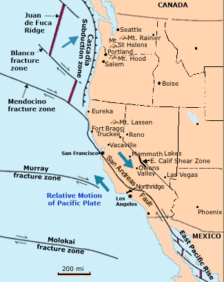 Fault Zones - Northern California on