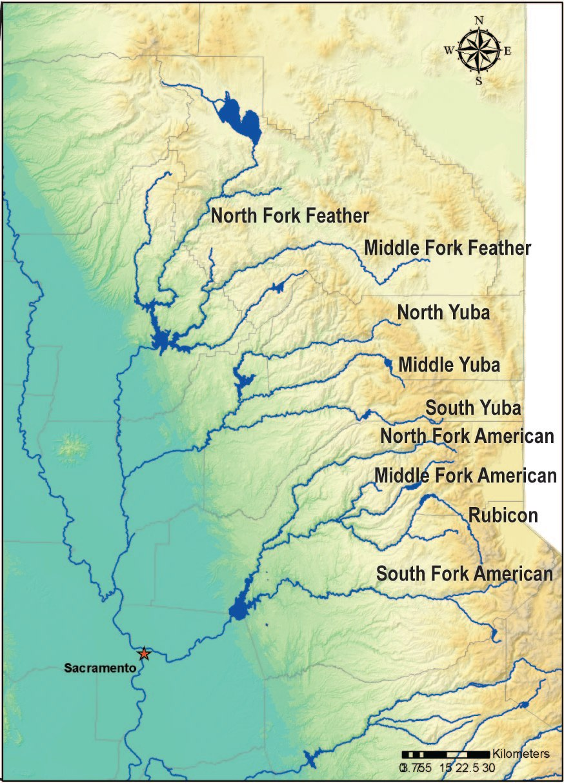 Northern California Rivers - California river map