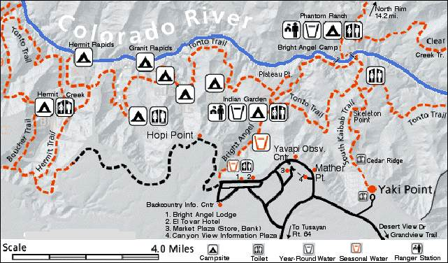 Grand Canyon: Grand Canyon National Park Trail Map At Slyspyder.com