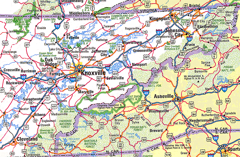 Interstate Highways Map Of Tennessee Click To Enlarge