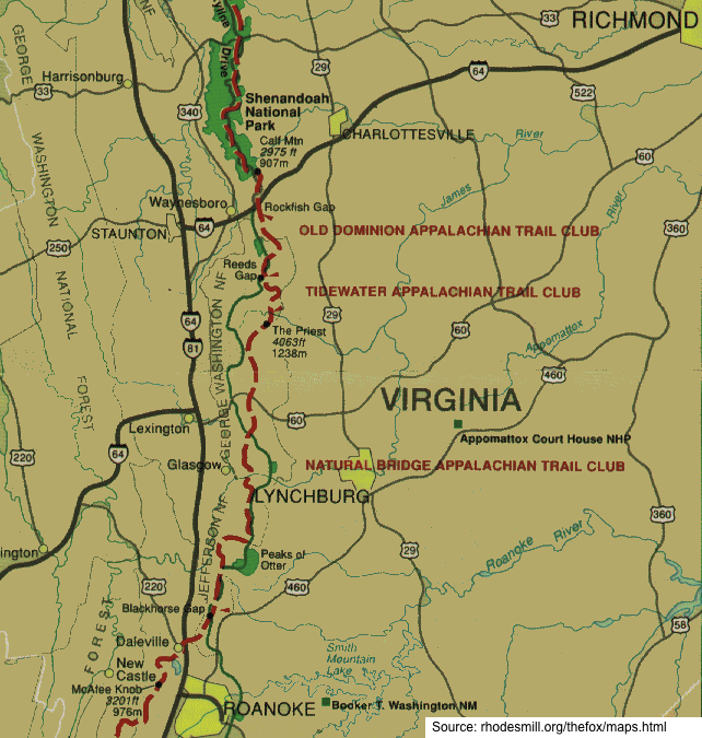 Appalachian Trail In Virginia Map Images