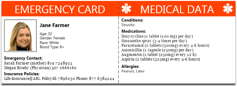 Emergency wallet card for Medical alert wallet card template