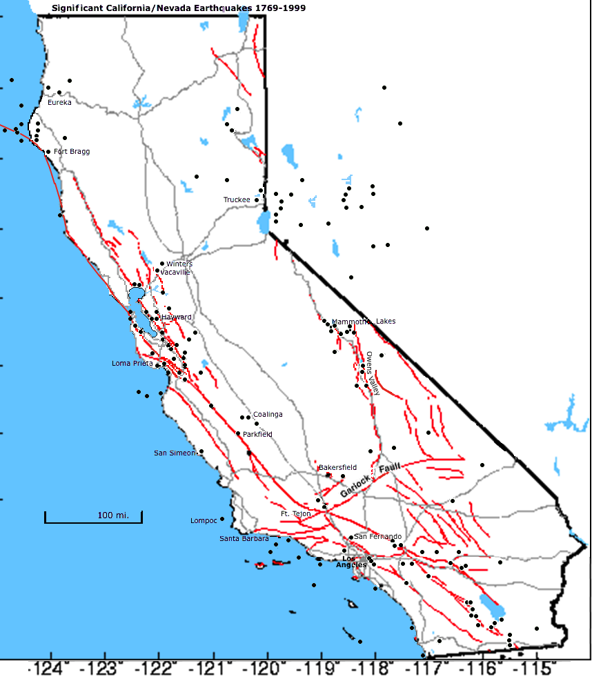 Popular 252 List earthquake map california