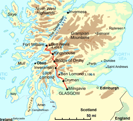 Fort Williams Scotland Map.West Highland Way