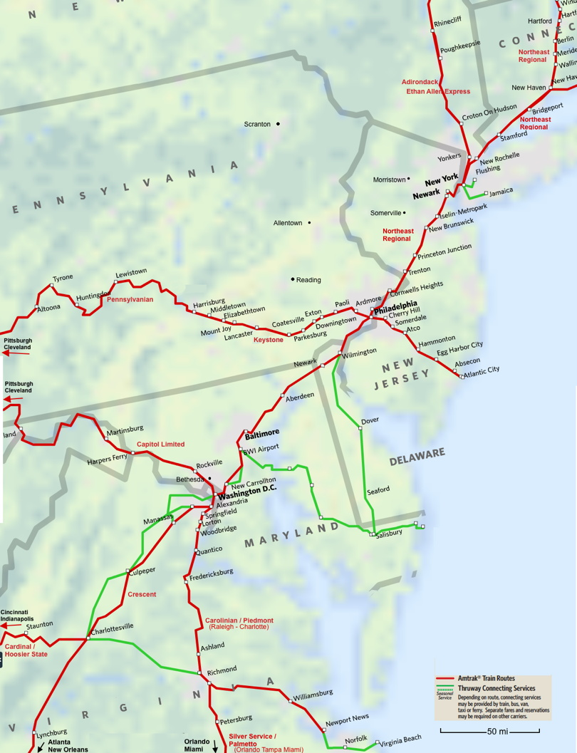 Mid-Atlantic Amtrak Route Map