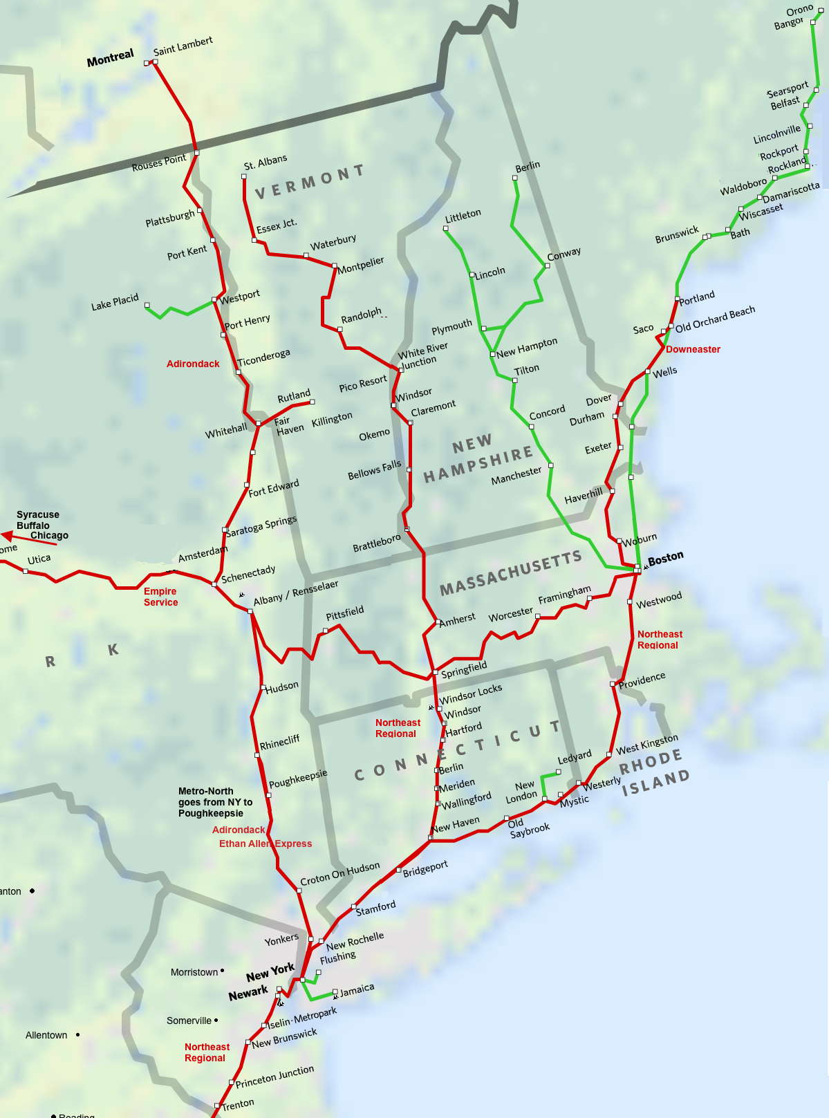 North East - New England Amtrak Route Map on