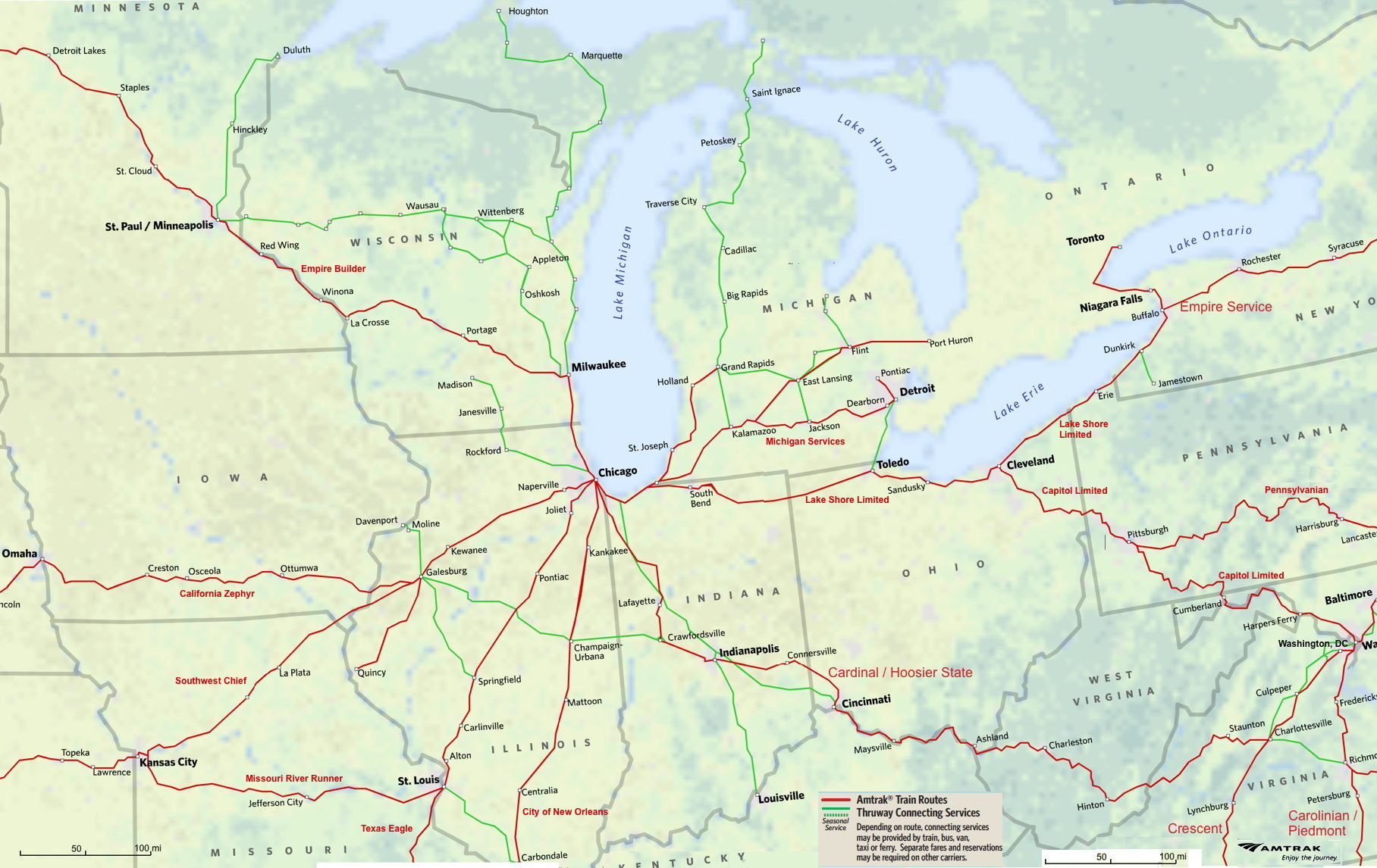 Midwest Amtrak Route Map