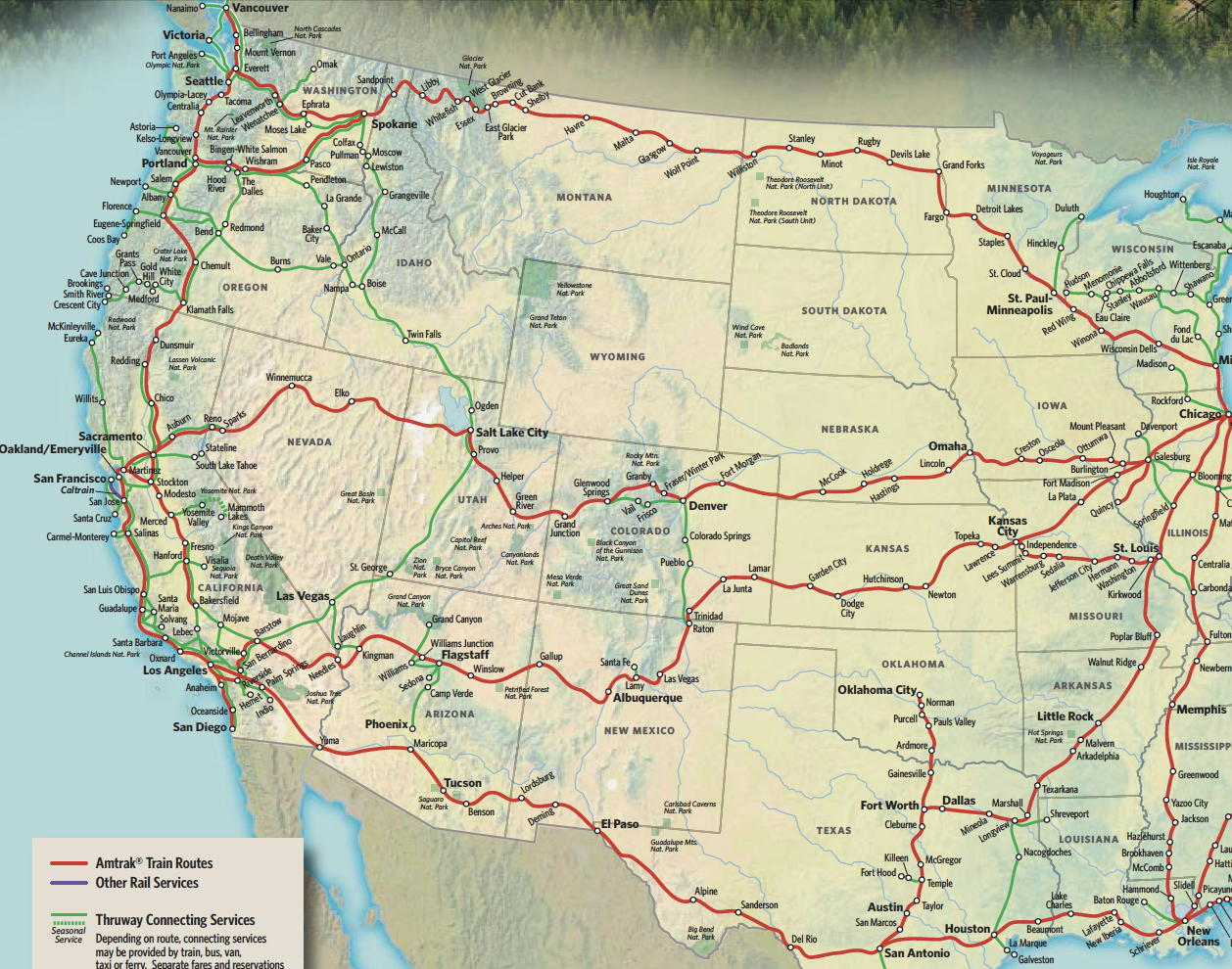 Amtrak Rail Passes Amtrak System Map Amtrak History Of - Amtrak map of routes in us